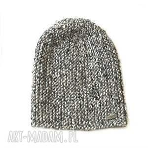 czapka 17 - czapka, beanie, druty, dziergana, melanż, alpaka