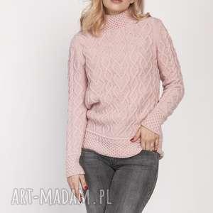 swetry sweter z półgolfem, swe211 róż mkm, półgolf, sweter, elegancki, jesień