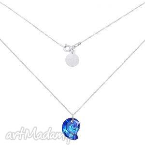 srebrny naszyjnik z kryształową muszelką swarovski crystal, muszelka