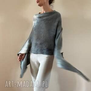 poncho eleganckie ponczo z baby alpaki w szarościach, sweter, ponczo, narzutka