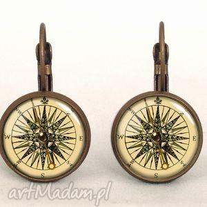 kompas - małe kolczyki wiszące, marynarskie, busola