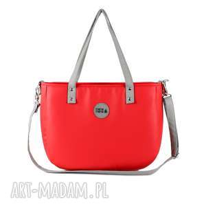 na ramię torebka damska aktówka czerwona, elegancka, pojemna, z paskiem
