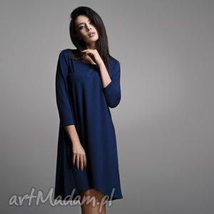 Sukienka T162 lekko rozkloszowana, granat, sukienka, lekko, elegancka