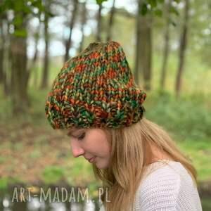 multicolorowa czapka, czapka, na drutach, ciepła prezent, kolorow