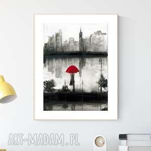 grafika 30x40 cm wykonana ręcznie, abstrakcja, elegancki minimalizm, deszczowa