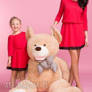 Sukienka z ozdobną koronką MAMA TD1, kolor czerwony, sukienka, lekko, rozkloszowana