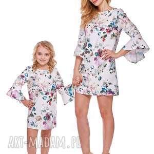 Mama i córka Sukienka z falbaną przy rękawie dla córki LD3/5, falbana, sukienka