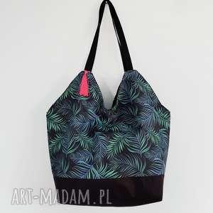 torba shopperka XL liście palmowe - ,shopperka,torba,oversize,duża,plażowa,wodoodporna,