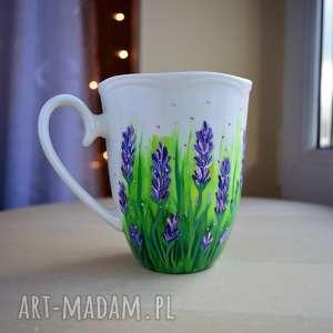 Prezent Kubek Lawendowy Ręcznie Malowany 350 ml, lawenda, w-kwiaty, dla-niej