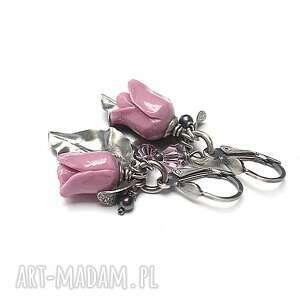 róże /lila/ vol 2 - kolczyki, srebro oksydowane, koral, kwiaty, swarovski