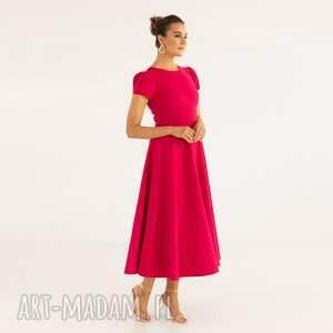 sukienka 22/ss/2021, styowa, princeska, malinowa, bawełniana, weselna