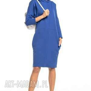 sukienki luźna sportowa sukienka z kapturem, t321, chabrowa