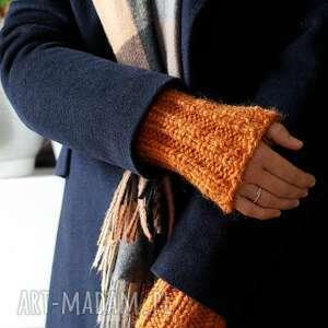rękawki pomarańczowe - płaszcz, mitenki, wełniane