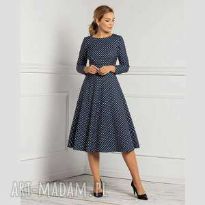 sukienki sukienka klara 3/4 total midi jolanda grochy średnie