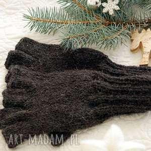 Bezpalczatki #8, rękawiczki, męskie, dziergane, mitenki, alpaka