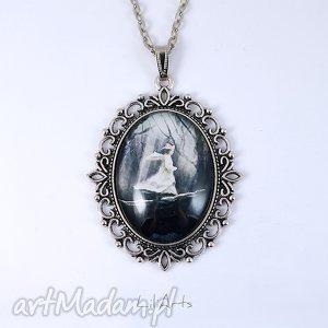 medalion, naszyjnik - magiczny las - zdobiony, owalny - naszyjnik, medalion, duży