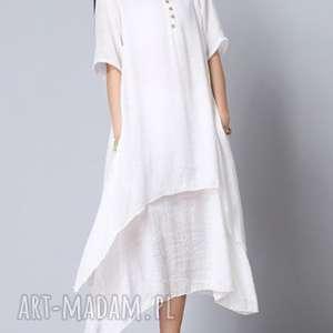 sukienka plażowa letnia biała, sukienka, len, lato, oversize, bawełna, kobieca