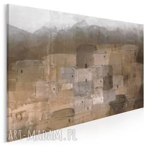 obraz na płótnie - domy osada brĄzowy 120x80 cm 93301, domy, osada, budynki, domki