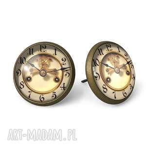 handmade kolczyki stare zegary - kolczyki sztyfty