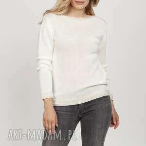 swetry prosty sweterek z długim rękawem - swe216 ecru mkm, sweter, ecru, długi