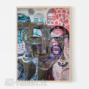 plakat a3 - konik, plakat, wydruk, twarz, postać, kobieta, portret