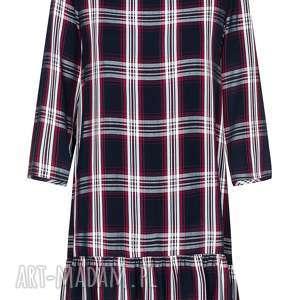 sukienki sukienka w kratę, wiskozowa z modną falbaną na dole, krata, wiskoza, falbana
