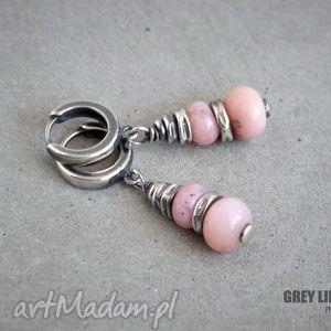 Różowy peruwiański opal. Kolczyki srebrne., srebro, 925, bigle, zamknięte, opal