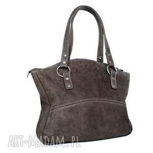 41-0009 brązowa torebka skórzana z pięknymi kołami / błyszczące nity roller