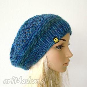 beret ażurowy w błękitach - beret, czapka, ażur, wełna, jesień