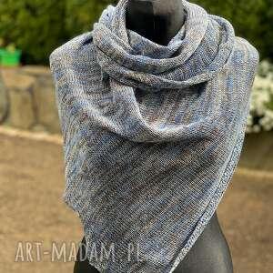 Chusta asymetryczna z bawełny melanż niebieski chustki i apaszki