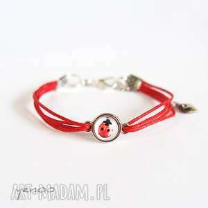 bransoletka - biedronka, mini sznureczki, czerwona, bransoletka, grafika, mała