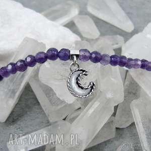 Moon charm necklace with amethyst, romantyczny, księżyc, boho, vintage, charms,