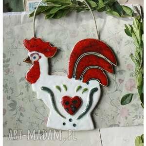 pod choinkę prezent, kogut z sercem, ceramika, kogut, wielkanoc