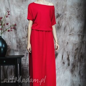 Czerwona długa suknia, sukienka, nietoperz, wiskoza, elastan
