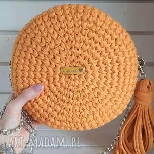 hand-made na ramię szydełkowa damska torebka musztardowa