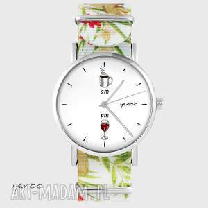 hand-made zegarki zegarek - kawa i wino kwiaty, nato, biały