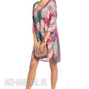 sukienki sukienka z kontrafałdą na plecach, t325, liście zielonym tle