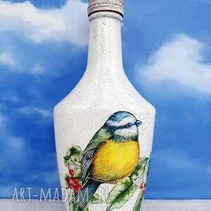 ptaki sikorka 2 dekoracyjna butelka z kolekcji vögel im - prezent świąteczny