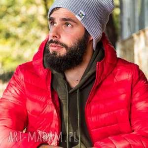 ręcznie zrobione czapki czapa dwustronna logo kolorowe light gray