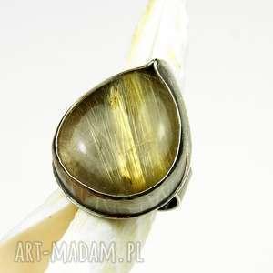 a470 pierścionek srebrny z kwarcem rutylowym, pierścionki, srebro