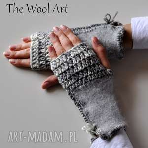 rękawiczki mitenki - rękawiczki, mitenki, nadłonie, prezent, wełniane