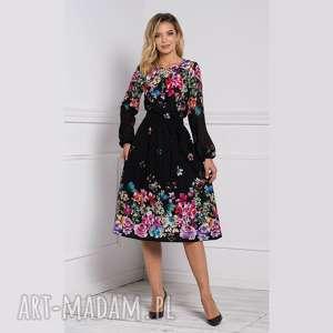 sukienka darla midi belinda, sukienka, midi, kwiaty, długi rękaw, rozkloszowana