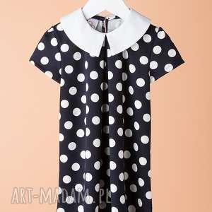 Sukienka DSU14N, elegancka, modna, wygodna, groszki, dziewczęca, stylowa