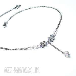 Alloys Collection - choker /crystal flower/, stal, szlachetna, swarovski, hematyty,