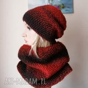 pod choinkę prezent, z szafranem zimowy komplet, rękodzieło, bezszwowa czapka