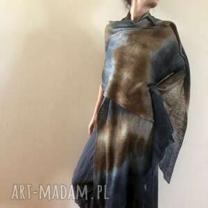 Duży lniany szal grafit&brąz szaliki anna damzyn szal, len, duży