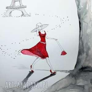 flow w paryżu akwarela z dodatkiem piórka artystki adriany laube - paryż, wieża