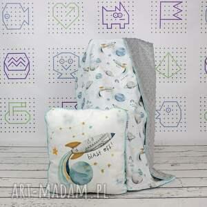 handmade dla dziecka zestaw kocyk i płaska poduszka blast off white