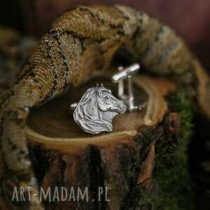 hand-made spinki do mankietów konie, srebrne