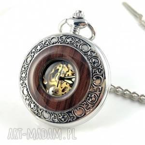 elegancja w drewnie iii silver black dial, steampunk, zegarek kieszonkowy